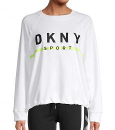 DKNY White Embroidered Logo Sweatshirt