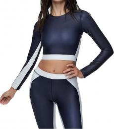 True Religion Navy Performance Cut Out Crop Top