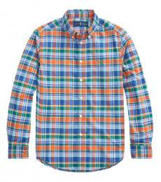 Ralph Lauren Boys Orange/Navy Plaid Performance Poplin Shirt