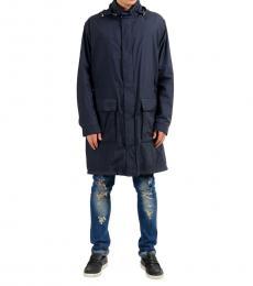 Hugo Boss Blue Hooded Windbreaker Coat