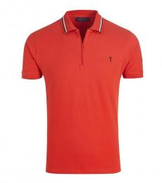 Trussardi Red Striped Collar Solid Polo