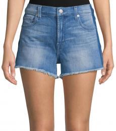 7 For All Mankind Blue Frayed Denim Shorts