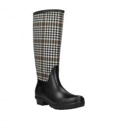 Moncler Black Beige Check Print Boots