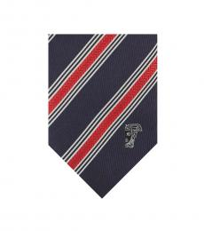 Versace Blue Red Textured Diagonal Stripe Tie