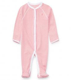 Ralph Lauren Baby Girls Pink Striped Cotton Coverall