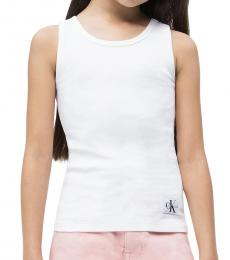 Calvin Klein Little Girls White Monogram Tank Top