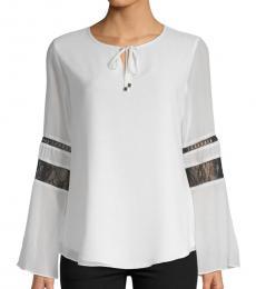 Calvin Klein White Lace-Paneled Blouse
