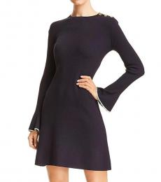 Tory Burch Medium Navy Wool Ribbed Sweaterdress