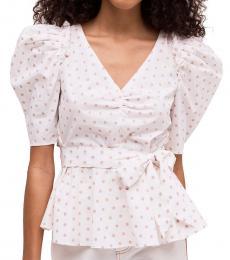 French Cream Dot Cotton Drape Blouse