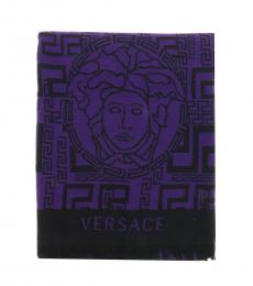 Versace Purple-Black Greek Key Pattern Scarf