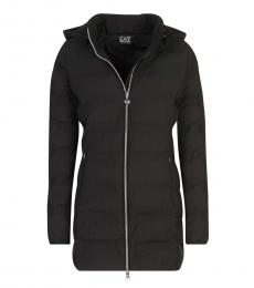 Black Removable Hood Zipper Jacket