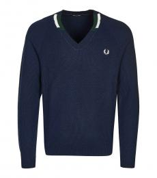 Fred Perry Dark Blue Logo Embroidery Sweater