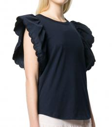 Ink Navy Butterfly Sleeves Blouse