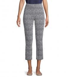 BlackWhite Plaid Jacquard Cropped Pants
