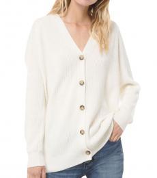 White Cotton-Blend Cardigan