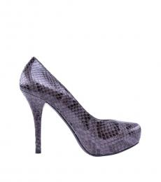 Grey Snake Print Pumps