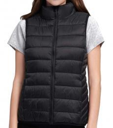 DKNY Black Funnel Neck Puffer Vest