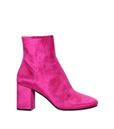 Fuchsia Velvet Ankle Booties