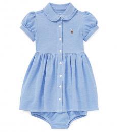 Ralph Lauren Baby Girls Blue Knit Mesh Oxford Dress