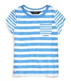 Ralph Lauren Little Girls Harbor Island Blue Striped T-Shirt