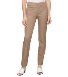 Beige Solid Stretch Pants