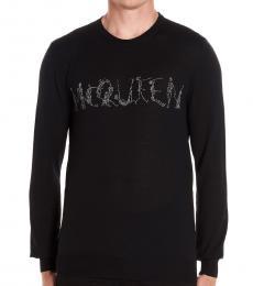 Black Glitter Logo Sweater