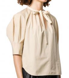 Chloe Beige Band Collar Cotton Blouse