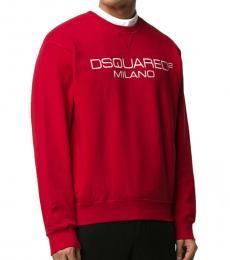Red Logo Printed Sweatshirt