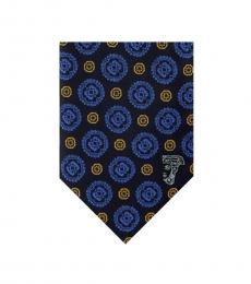 Versace Black Blue Embroidered Floral Tie