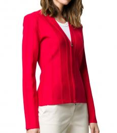 Vivid Red  Ribbed Fitted Jacket