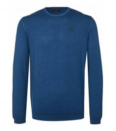 Dark Blue Logo Solid Sweater