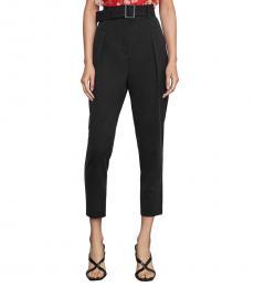 BCBGMaxazria Black Single Pleated High-Waist Pants