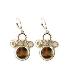 Tortoise-Gold Charm Drop Earrings