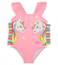 Betsey Johnson Little Girls Pink Unicorn Graphic One-Piece Swimsuit