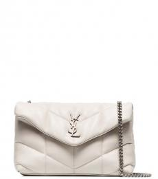 Saint Laurent White Puffy Small Shoulder Bag