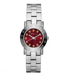 Marc Jacobs Silver Red Dial Watch