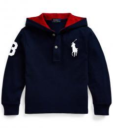 Ralph Lauren Little Boys French Navy Big Pony Hooded T-Shirt
