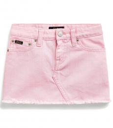 Little Girls Carmel Pink Wash Denim Skirt