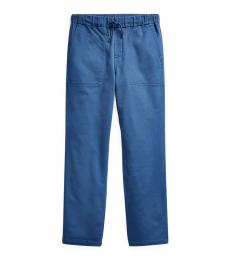 Ralph Lauren Boys Federal Blue Tapered Stretch Pants