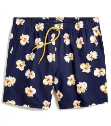 J.Crew Navy Blue Floral-Print Swim Trunk