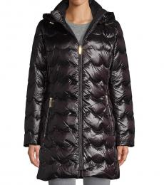 Kate Spade Black Scallop-Quilted Down Coat