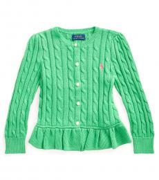Ralph Lauren Little Girls Cycle Green Cable Peplum Cardigan