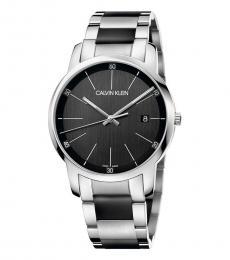 Calvin Klein Silver-Black Logo Watch
