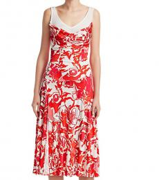 Roberto Cavalli Red White Rose Print Liquid Jersey Dress
