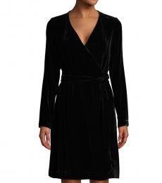 Diane Von Furstenberg Black Julian Velvet Flare Wrap Dress