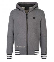 Philipp Plein Grey Front Logo Jacket
