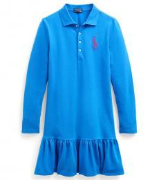 Ralph Lauren Girls Boysenberry Big Pony Long-Sleeve Dress