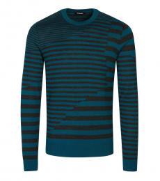 Diesel Teal Striped Sweater