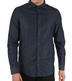 Armani Jeans Navy Blue Denim Regular Fit Shirt