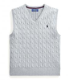 Ralph Lauren Boys League Heather Cable-Knit Sweater Vest